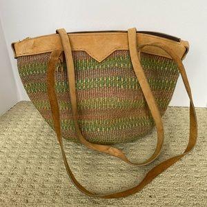 Boho hippie woven & leather bucket bag tote purse